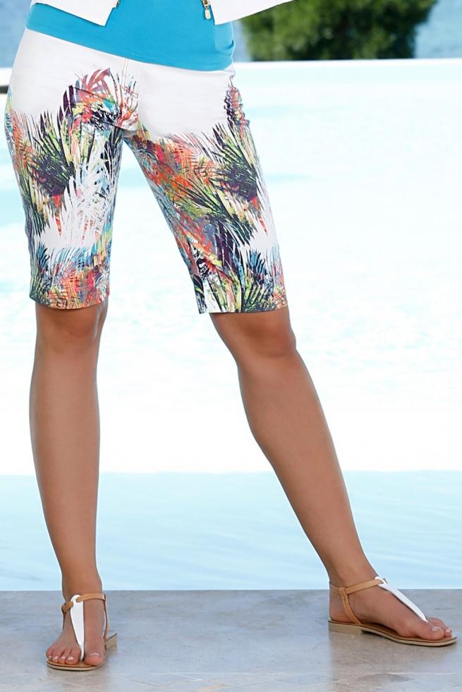 Bermuda Imprimé Coton D'azur Femme I Blanc Bleu HIY9eWD2bE