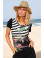 TSHIRT FEMME HABILLE JERSEY A RAYURES EXOTIQUES