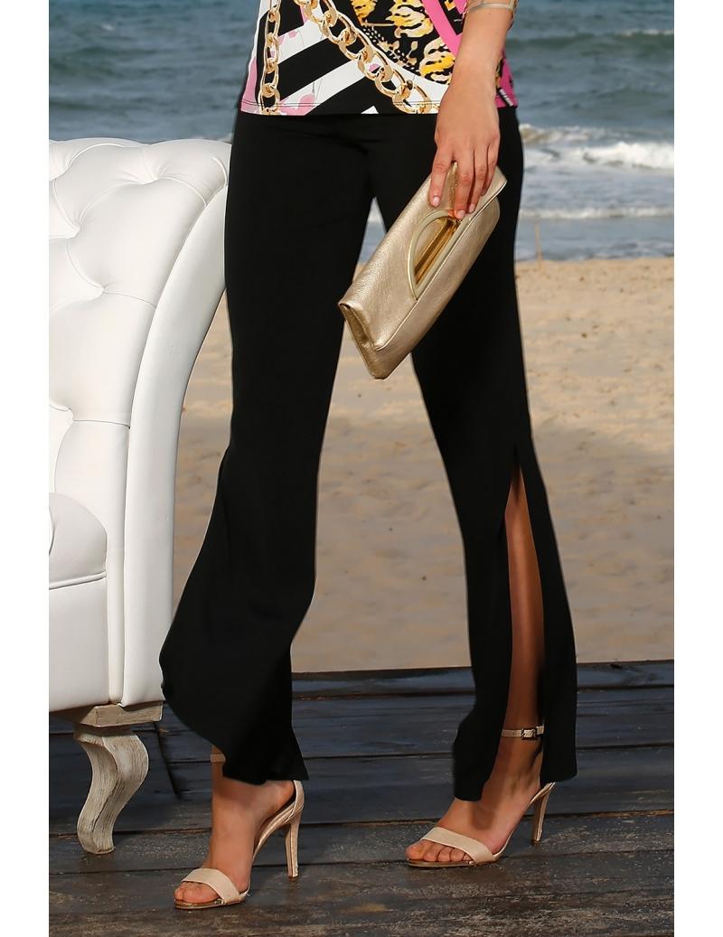 pantalon t femme jersey noir fluide avec fentes bleu d 39 azur. Black Bedroom Furniture Sets. Home Design Ideas