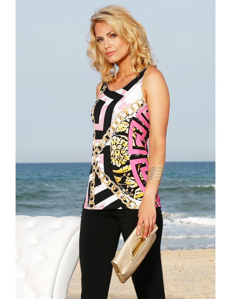 Débardeur long femme habillé imprimé style Versace naples  15707625f39