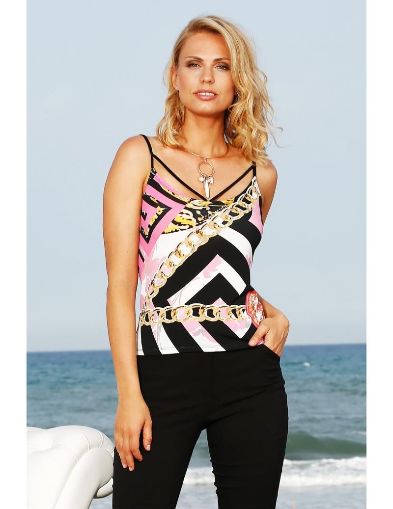 53f63c1bdcecc Sexy top à fines bretelles jersey imprimé style Versace | BLEU D'AZUR