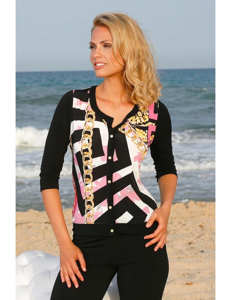 chemisier t femme habill manches 3 4 noir blanc rose i bleu d 39 azur. Black Bedroom Furniture Sets. Home Design Ideas