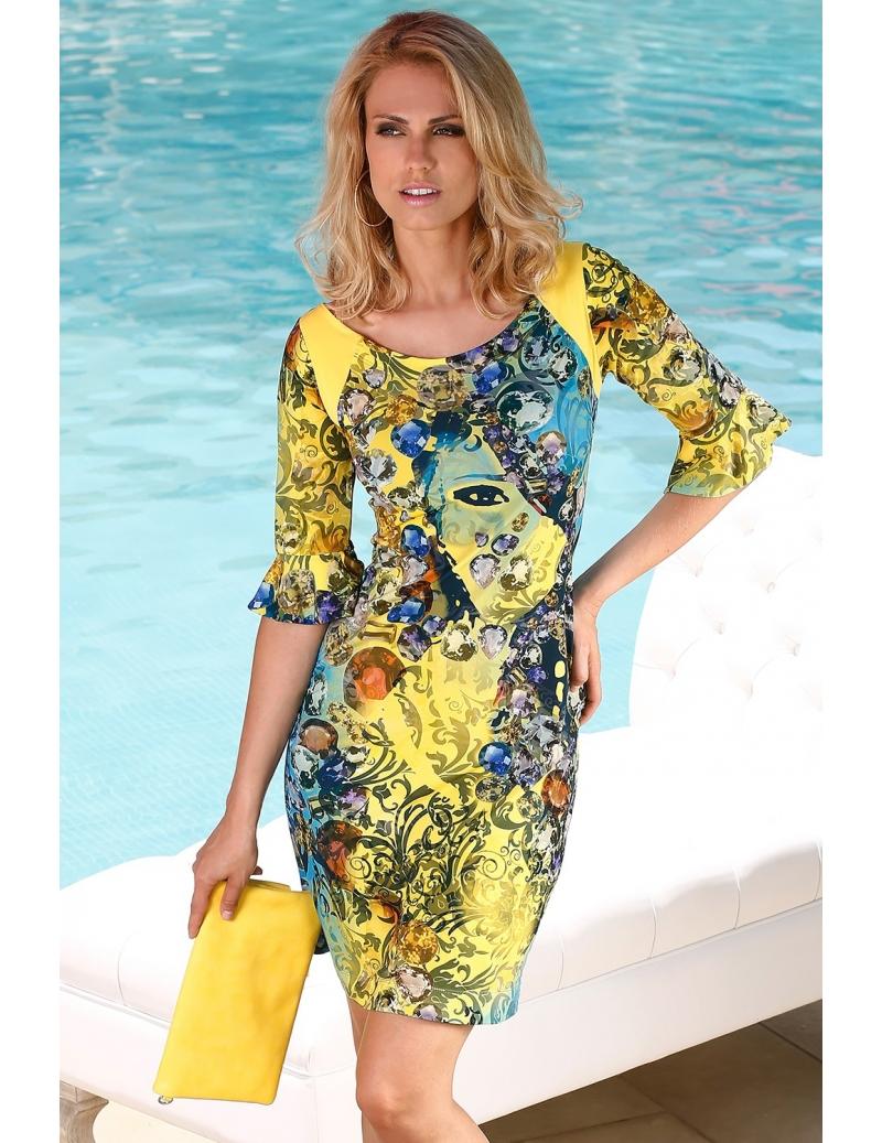 robe jaune chic manches courtes à volants delicate   BLEU D AZUR 68ec13623d1b