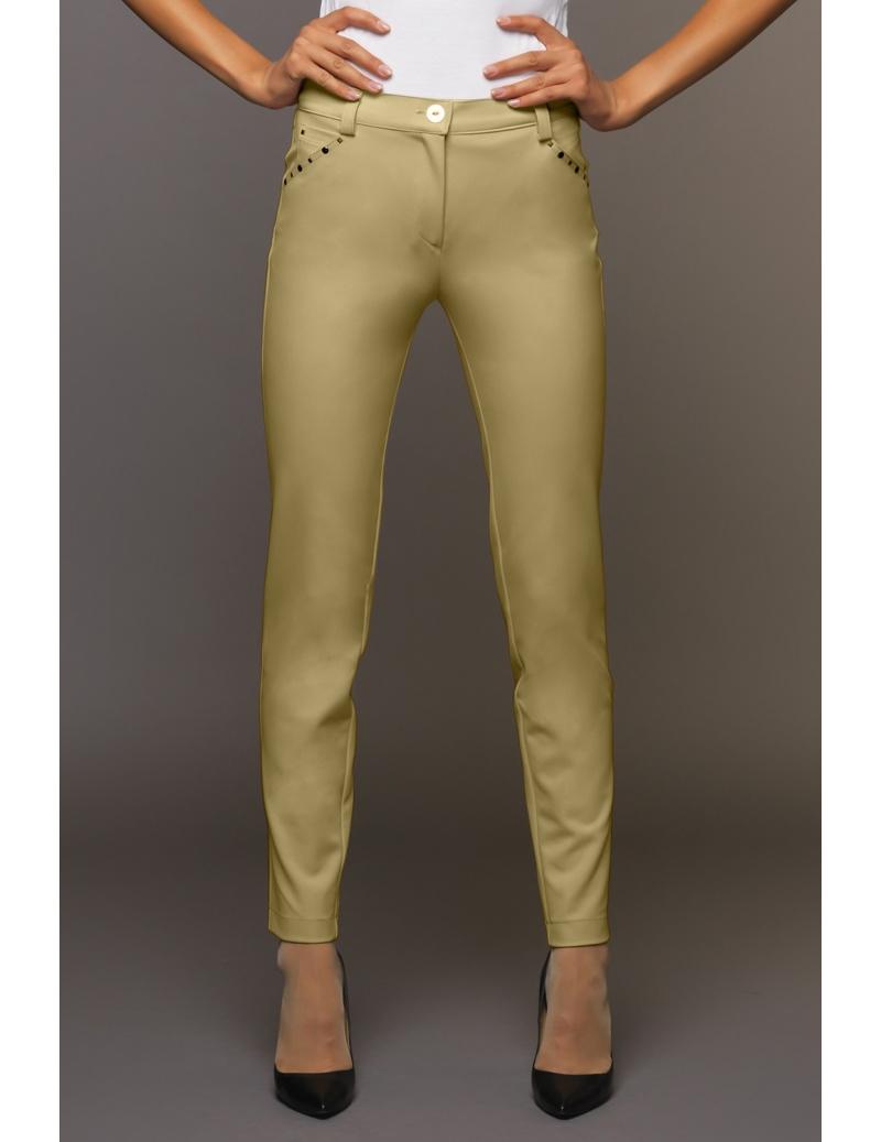 1989e977cd55a6 pantalon été femme coupe slim toile stretch moutarde emy | BLEU D'AZUR
