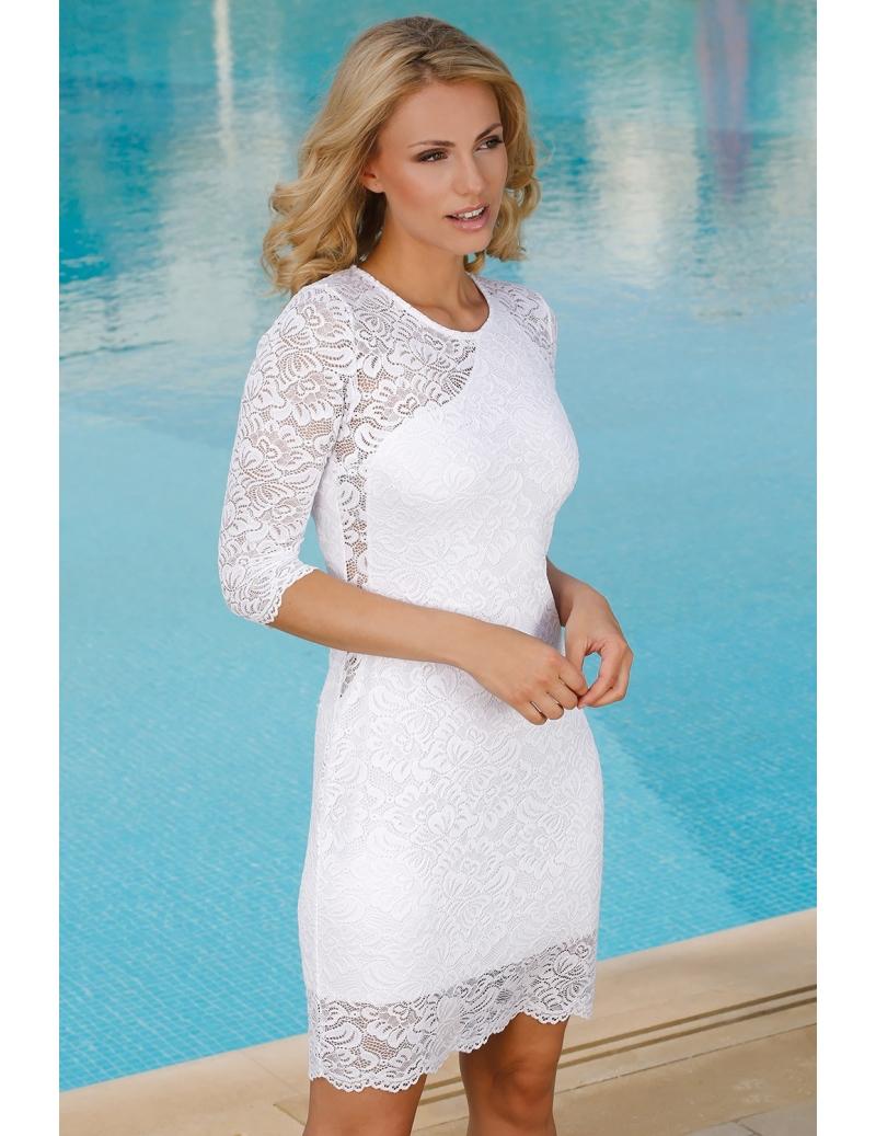 4044d2484075 robe femme habillée dentelle blanche manches mi-longues