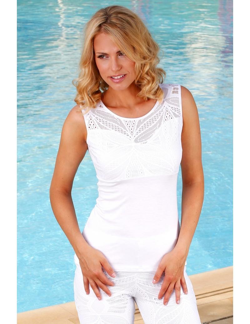débardeur été femme bi-matière jersey dentelle blanche l BLEU D AZUR d06768e7379