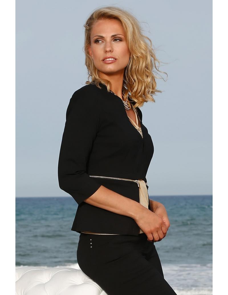 9a9f9eb4118 veste d été noire chic pour femme avec zip horizontal or