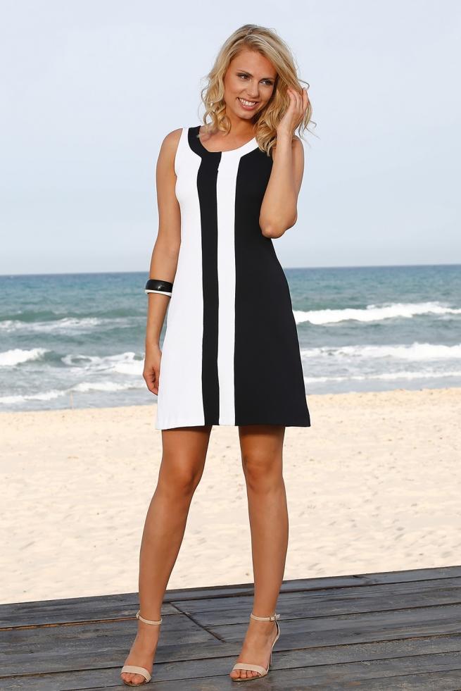 fcda00e798bba robe femme évasée bicolore inversé noir et blanc sirena l BLEU D AZUR
