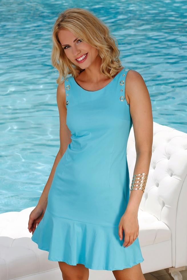 9db5c1b1f935b robe été droite turquoise jupe à volants femme zouk l BLEU D'AZUR