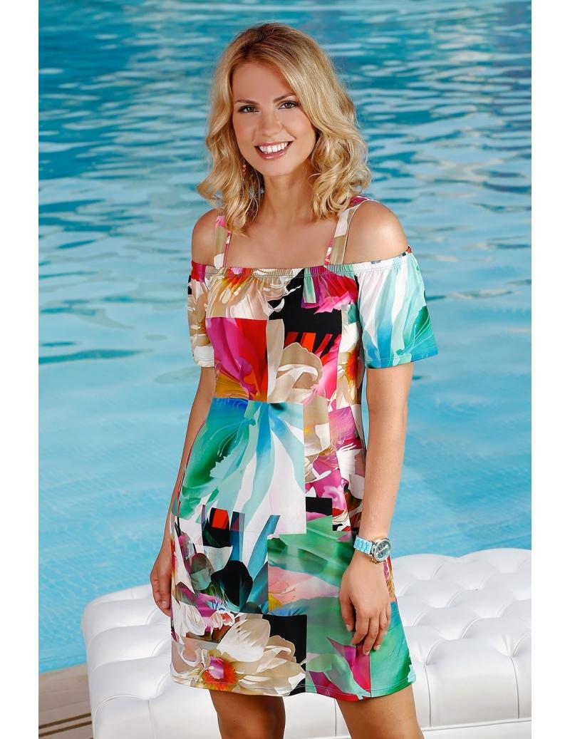 robe été jersey bustier élastique imprimé patchwork chic l BLEU D AZUR 2dd3ba4487df