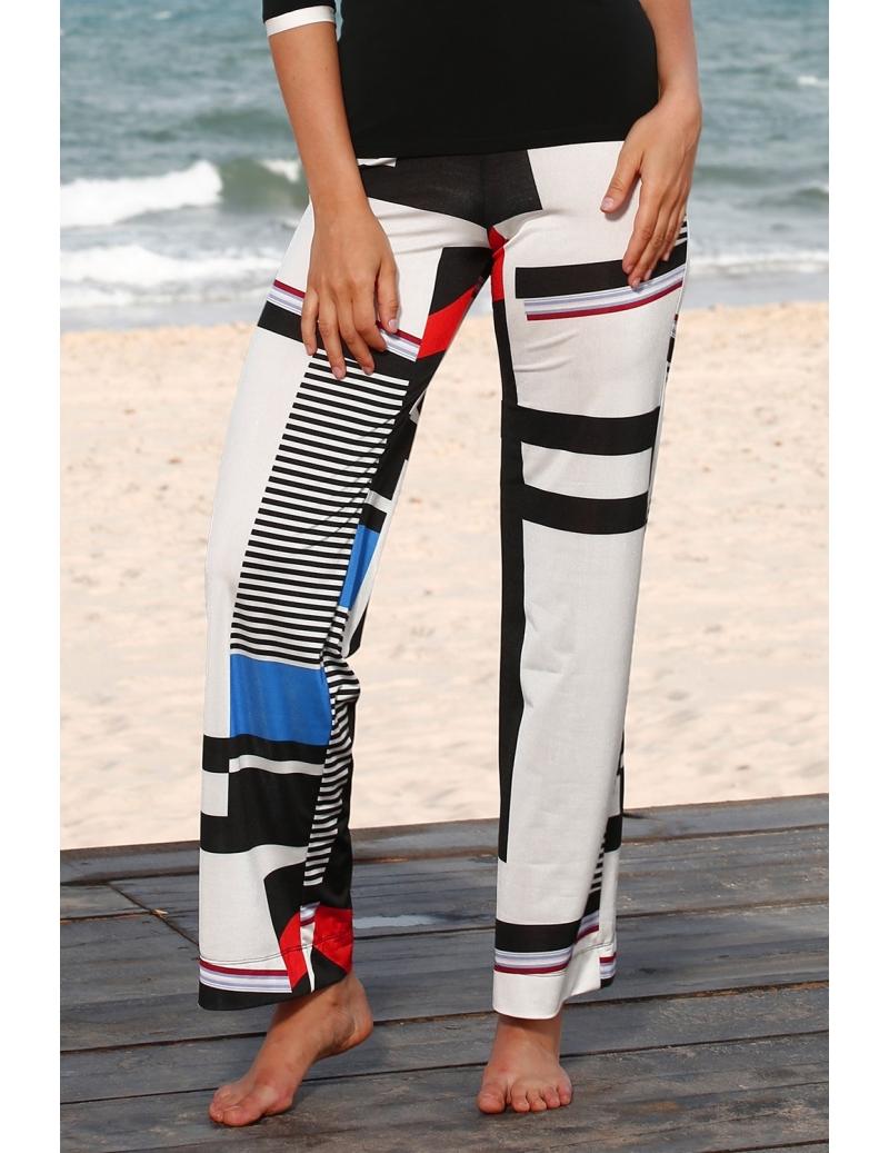 d80c76a69aeaa pantalon été femme fluide coupe large imprimé sport chic   BLEU D AZUR