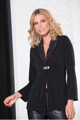 GILET LONG JERSEY NOIR BROCHE STRASS