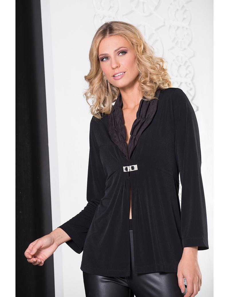 gilet long hiver femme jersey noir broche strass porto bleu d 39 azur. Black Bedroom Furniture Sets. Home Design Ideas