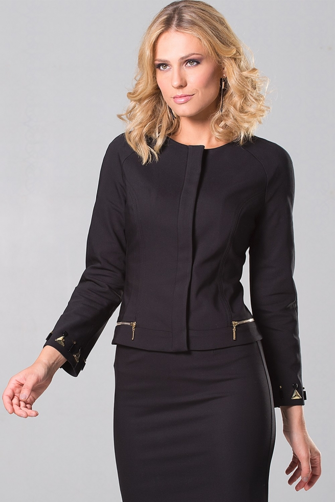 veste tailleur femme chic noire manche raglante genna bleu d 39 azur. Black Bedroom Furniture Sets. Home Design Ideas
