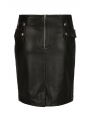 JUPE DROITE STYLE ROCK EFFET CUIR