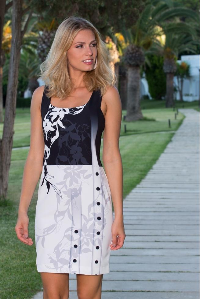 robe femme habill e chic noir et blanc fleurs punch. Black Bedroom Furniture Sets. Home Design Ideas