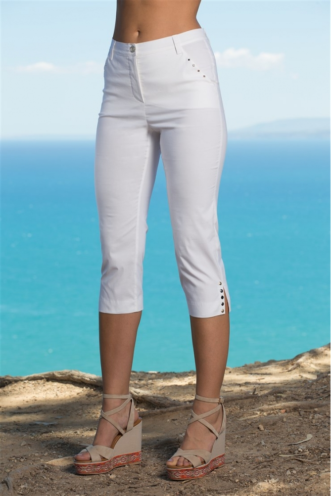 PANTACOURT FEMME TOILE STRETCH BLANC SPORT CHIC YORK