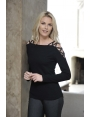 PULL FEMME CHIC TRICOT NOIR EPAULE ROCK MODE HIVER PACO
