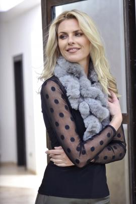 ECHARPE COURT FOURRURE GRISE MODE HIVER FEMME MAX