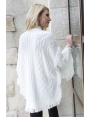 VESTE TRICOT BLANC CHIC MODE FEMME CASUAL HIVER ECLAT