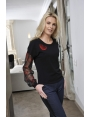 PULL NOIR MANCHE BOUFFANTE MODE FEMME HIVER MOBY