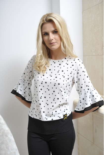 BLOUSE CREPE BLANCHE MOTIF ETOILE MODE FEMME CASUAL STAR