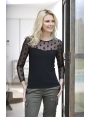 TSHIRT CHIC NOIR BUSTIER A POIS MODE HIVER FEMME LALY