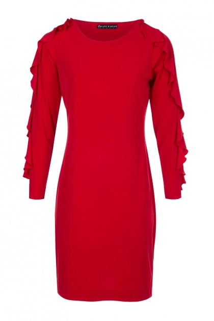 ROBE DROITE CHIC ROUGE STYLE VERSACE MODE HIVER KAREN