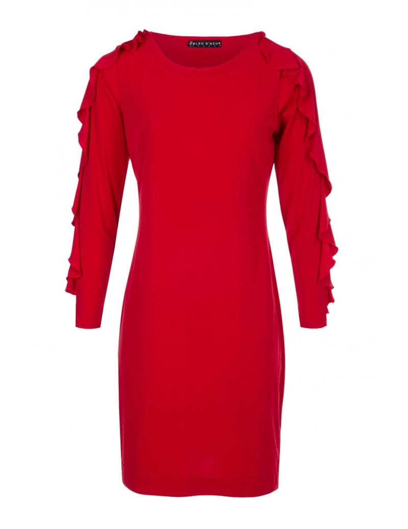 Robe Droite Chic Rouge Style Versace Mode Hiver Karen L Bleu D Azur
