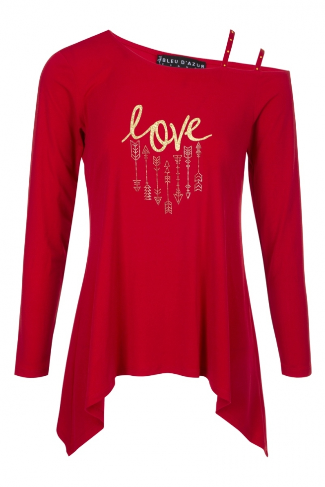 TUNIQUE EVASEE ROUGE AMOUR MODE HIVER FEMME CHIC KIRA