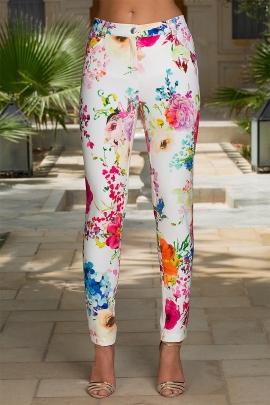 Pantalon blanc fleuri droit mode femme chic Anabel
