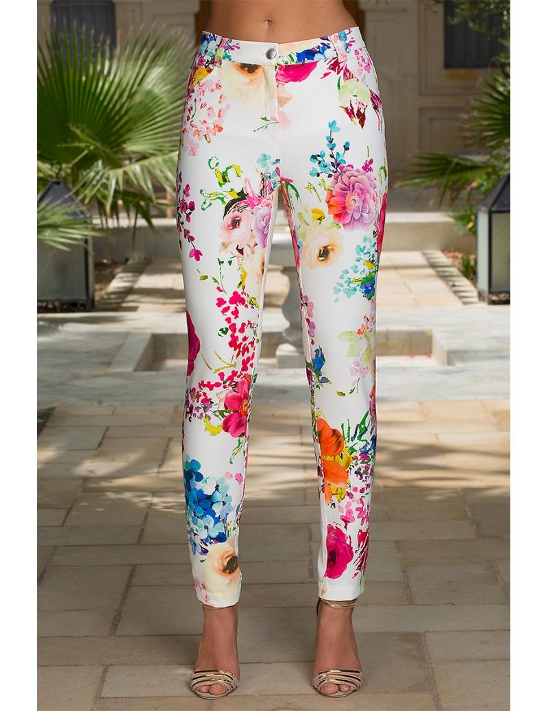 AnabelBleu D'azur Fleuri Mode Pantalon Blanc Chic Droit Femme hrtsCQd