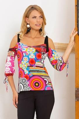 Tshirt bustier coloré et bretelles à nouer femme Alicante