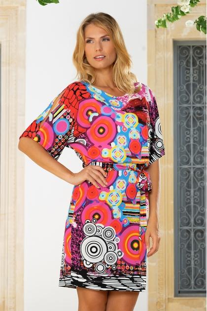 Robe blousante géométrique et imprimé coloré Madrid