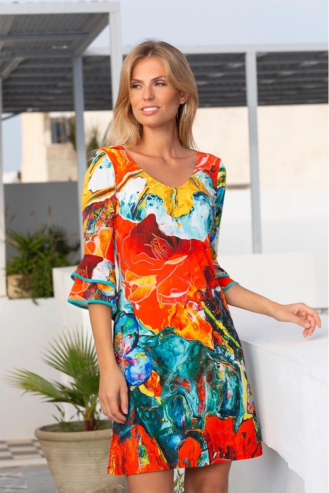 Robe imprimée acapulco à manches volantées Marquelia