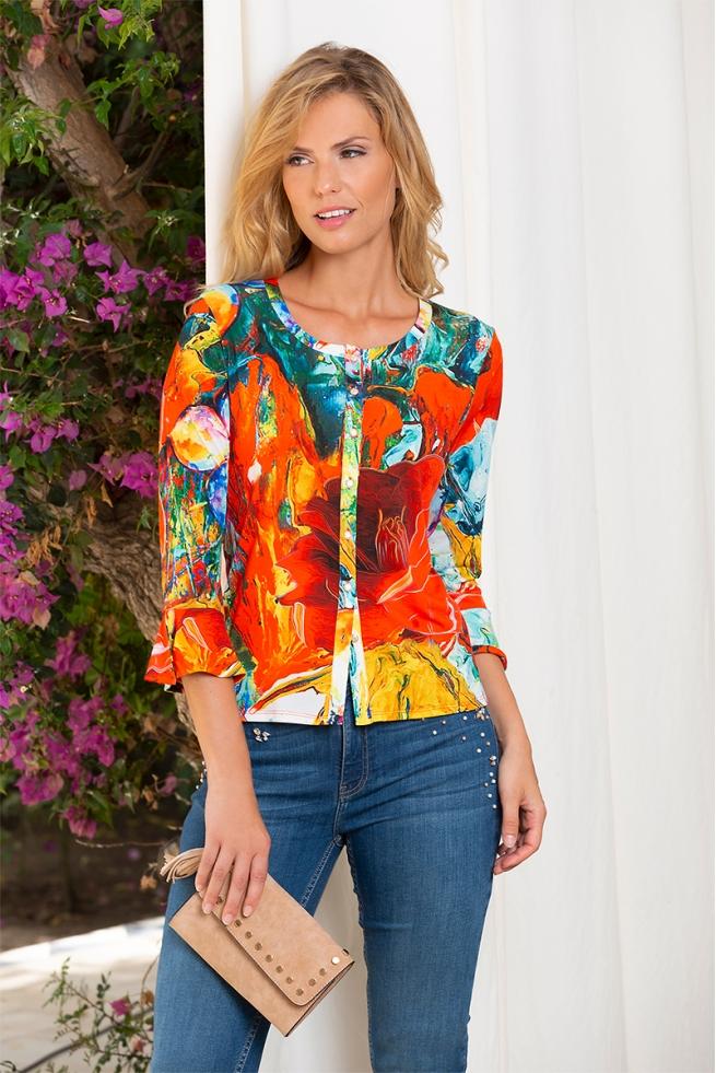 Chemisier coloré à manches 3/4 volantées mode femme Salsa