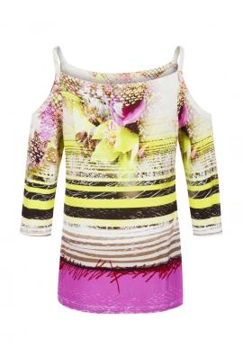Tshirt fleuri chic inspiration zen découpe épaule Bangkok