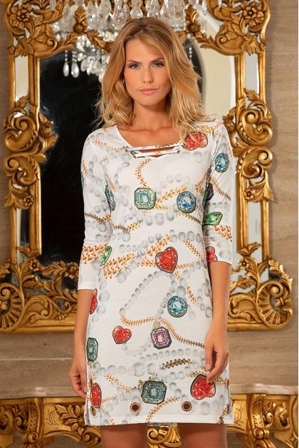 Robe droite motif pierre précieuse mode femme chic Lolite