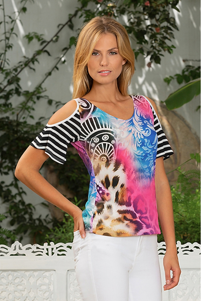 Tshirt été femme imprimé léopard découpe épaule Kaya