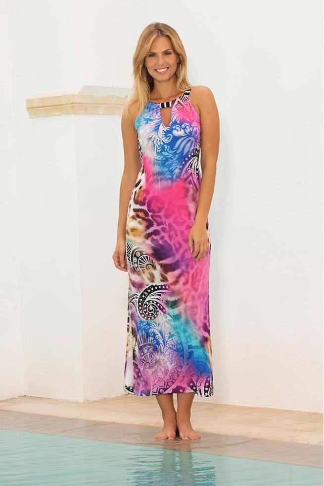 Robe longue été glamour motif animal couleurs pop Lagos