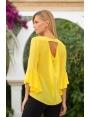 Blouse jaune décolleté V dos et manches volantées Soleil