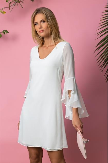 Robe été blanche habillée décolleté dos croisé Estel