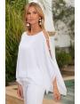 Tunique habillée voile blanc manches fendues et strass Ka