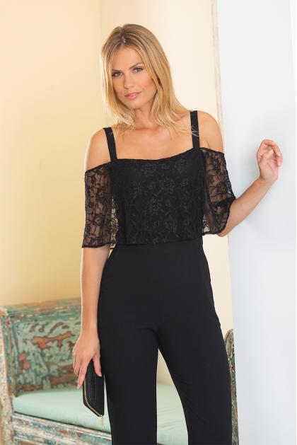 Combinaison pantalon dentelle noire habillée Mystere
