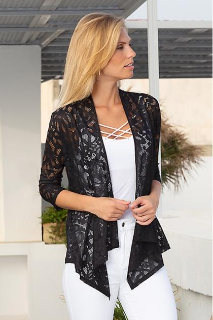Gilet long noir en dentelle mode femme élégante Lido