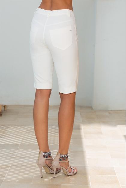 Bermuda été femme stretch blanc poches décorées Circus