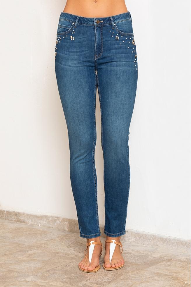 Jeans slim bleu foncé femme tendance et perles Marlon