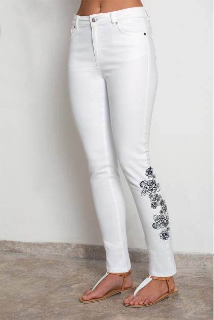 Jeans blanc femme chic coupe slim avec borderie Sacha