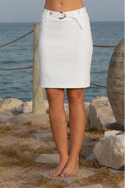 Jupe blanche droite taille haute mode femme chic Manoa