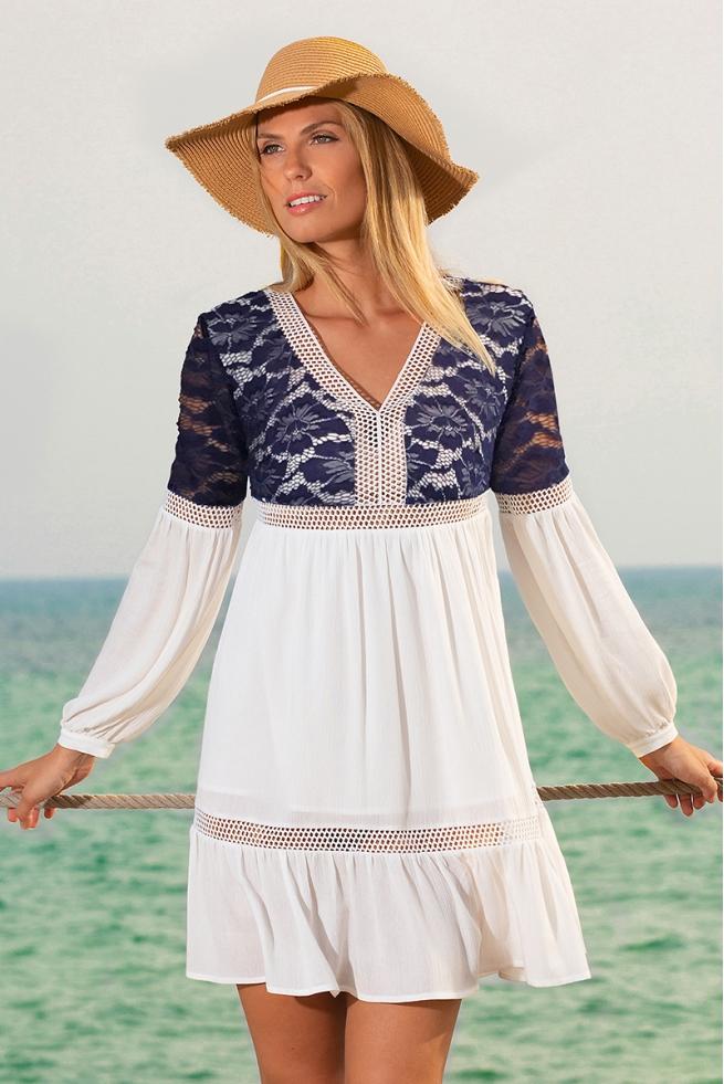 Robe été femme bohème bleu et blanc mode tendance Marin